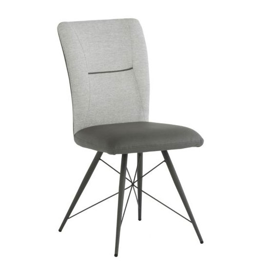 Amalfi Fabric And Pu Leather Dining Chair In Light Grey