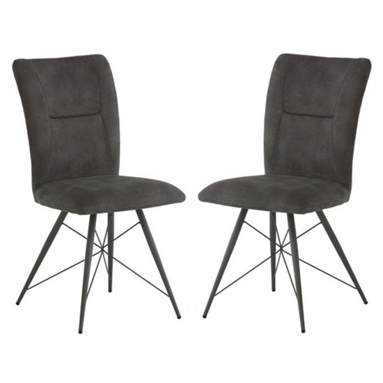 Amalfi Grey Fabric Dining Chair In A Pair