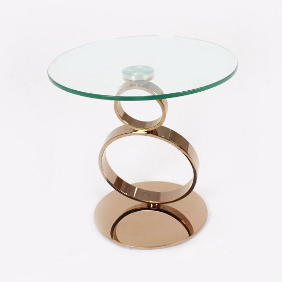 Amalia Glass Coffee Table Round In Clear With Rosegold Base
