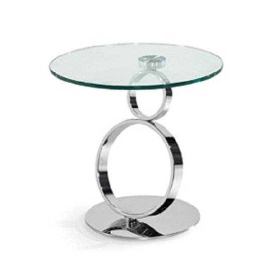 Amalia Glass Coffee Table Round In Clear With Silver Base
