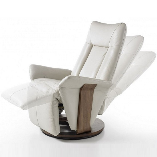 Superbe ... Amalia Relaxing Chair In Cream Leather And Walnut Base_3