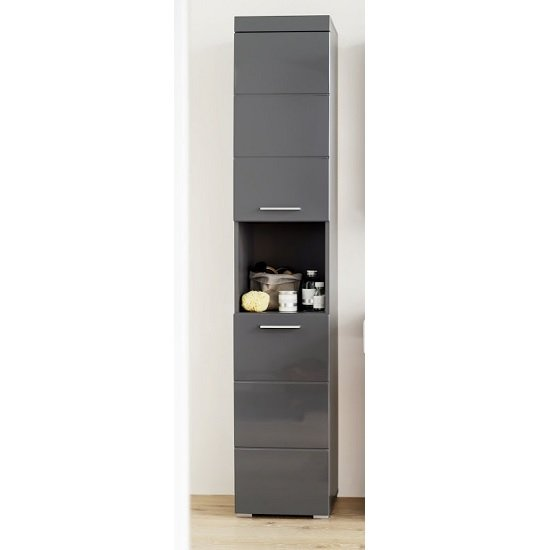 Amanda Tall Bathroom Cabinet In Grey With High gloss Fronts