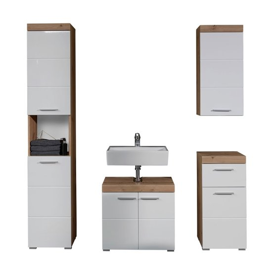 Amanda Bathroom LED Furniture Set In Knotty Oak And White