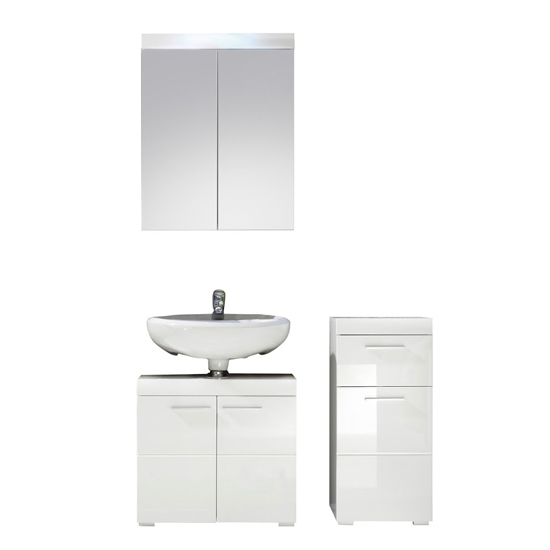 Amanda Bathroom LED Furniture Set In White High Gloss