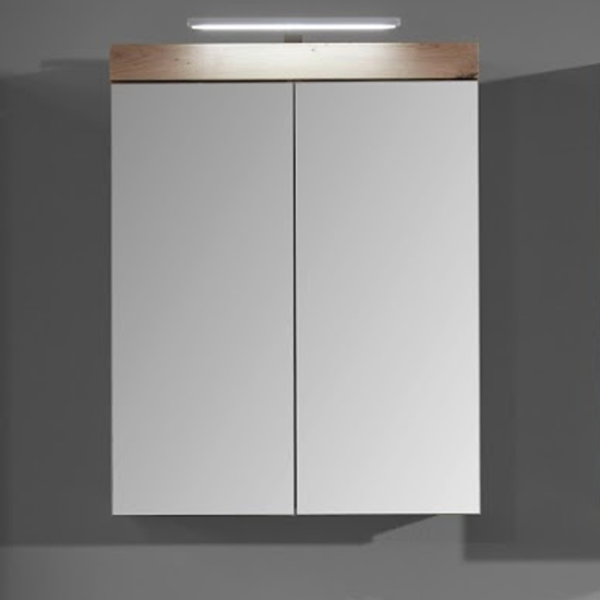 Amanda Bathroom LED Mirrored Cabinet In Knotty Oak