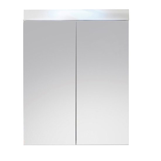 Amanda LED Bathroom Mirrored Cabinet In White High Gloss