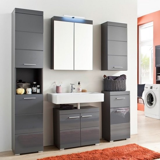 high gloss grey bathroom cabinets amanda bathroom storage cabinet in grey and high gloss 23322 | amanda bathroom set grey
