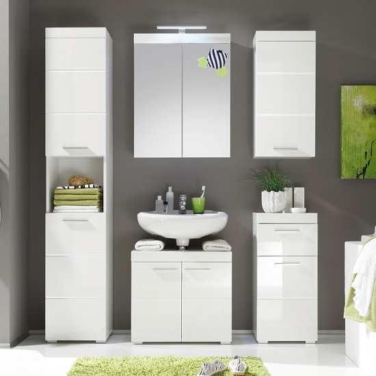 Amanda Bathroom Set In White With High Gloss Fronts And LED_2
