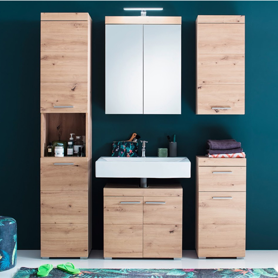 Amanda Bathroom Vanity And LED Mirror With Storage In Knotty Oak_2