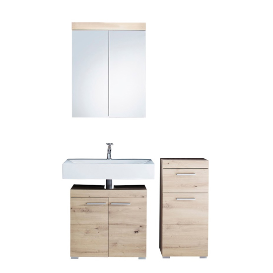 Amanda Bathroom Vanity And LED Mirror With Storage In Knotty Oak