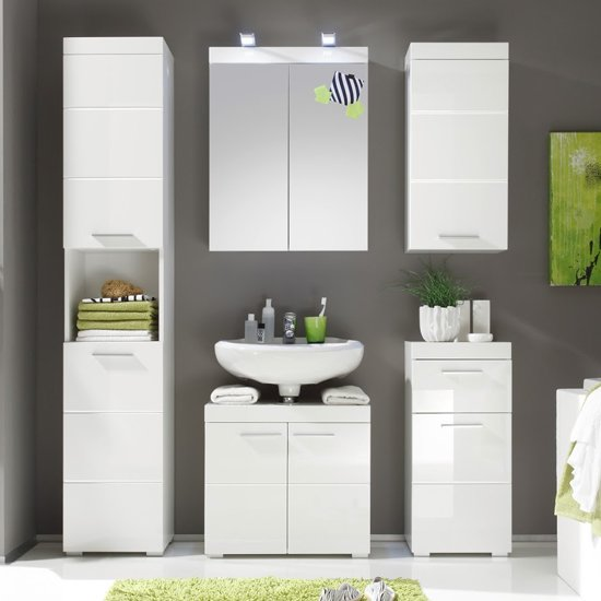 Amanda Bathroom Vanity And LED Mirror With Storage In White_3