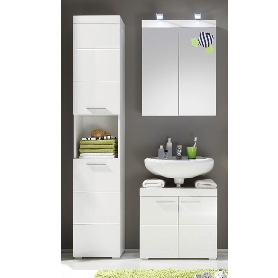Amanda Bathroom Vanity And LED Mirror With Storage In White_1