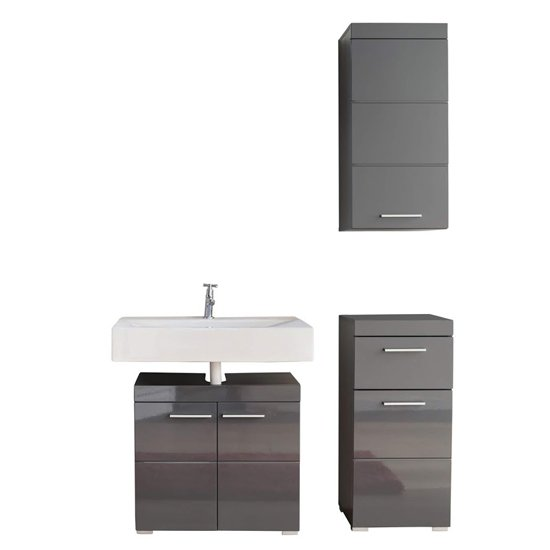 Amanda Bathroom Vanity With Wall And Floor Storage In Grey