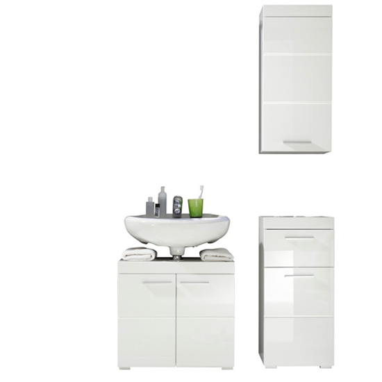 Amanda Bathroom Vanity With Wall And Floor Storage In White