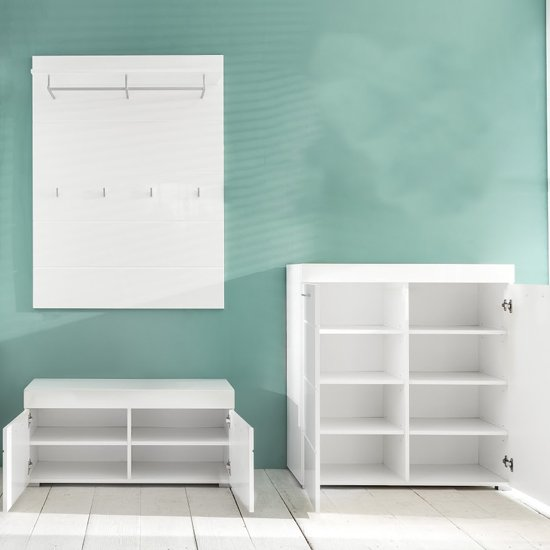 Amanda Coat Rack And Bench With Shoe Cabinet In White High Gloss_2