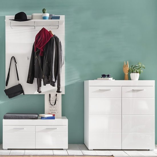 Amanda Coat Rack And Bench With Shoe Cabinet In White High Gloss_1