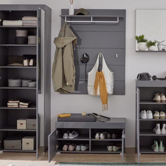 Amanda Coat Rack And Shoe Bench In Grey High Gloss_2