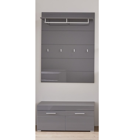 Amanda Coat Rack And Shoe Bench In Grey High Gloss_1