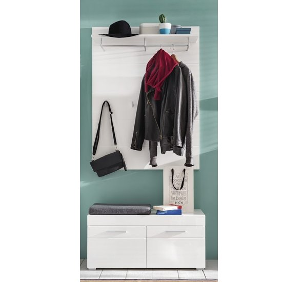 Amanda Coat Rack And Wide Shoe Bench In White High Gloss