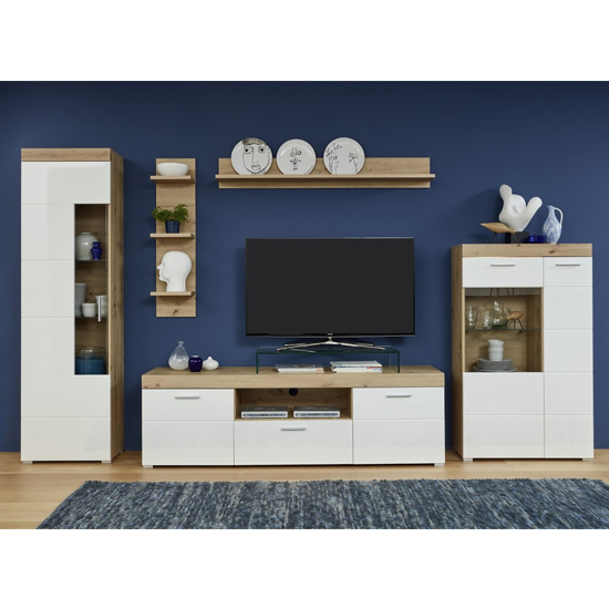 Amanda LED Display Cabinet In White HG And Knotty Oak_2