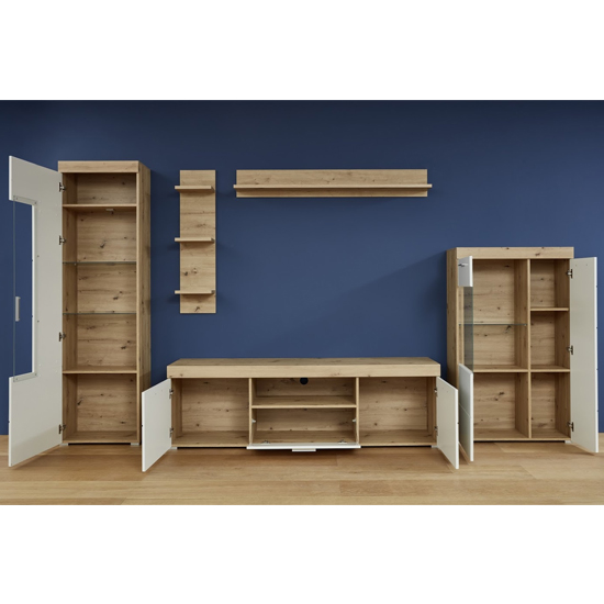 Amanda LED Display Cabinet In White HG And Knotty Oak_3