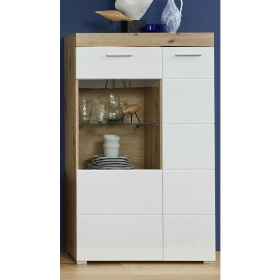Amanda LED Display Cabinet In White HG And Knotty Oak_1