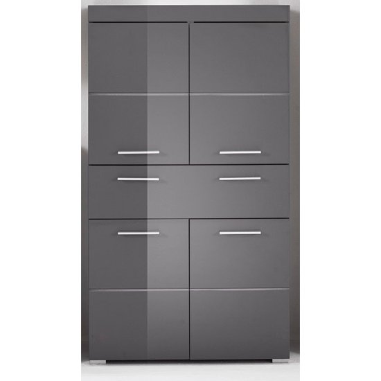 Amanda Floor Storage Cabinet In Grey Gloss With 4 Doors
