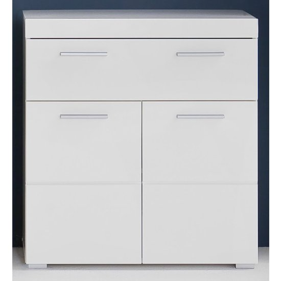 Product photograph showing Amanda Floor Storage Cabinet In White Gloss With 2 Doors