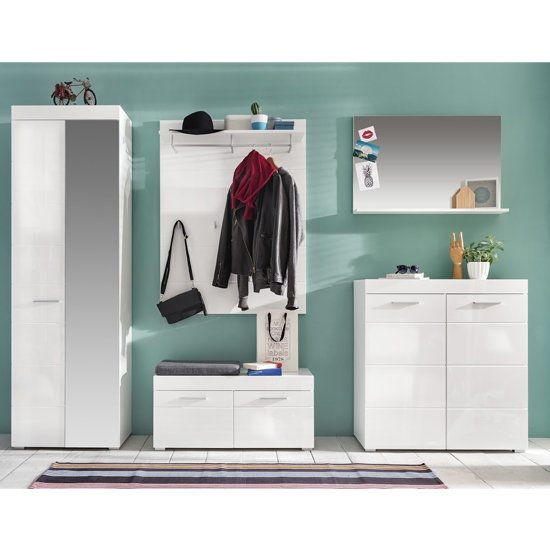 Amanda Hallway Furniture Set In White Gloss With Bench