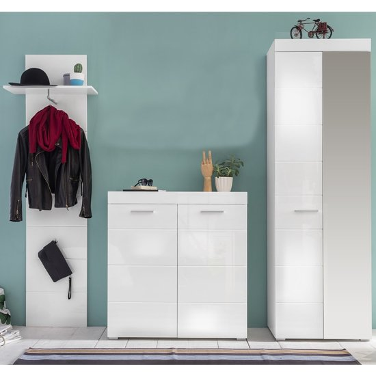 Amanda Hallway Furniture Set In White Gloss Without Mirror_1