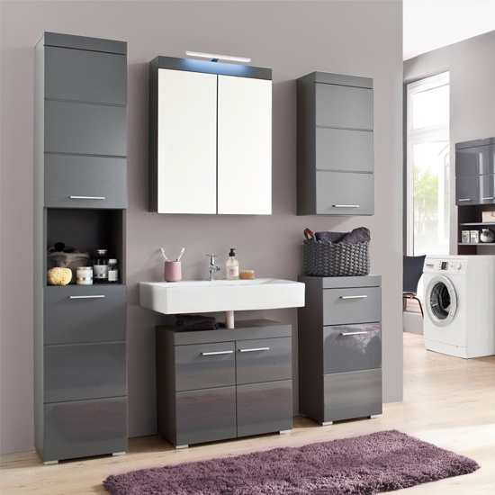 Amanda LED Bathroom Mirror And Vanity With Storage In Grey_3