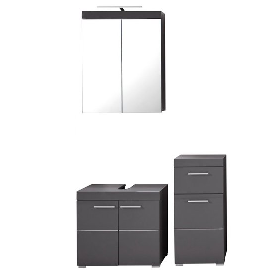 Amanda LED Bathroom Mirror And Vanity With Storage In Grey