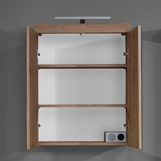 Amanda LED Mirrored Bathroom Cabinet In Knotty Oak_2