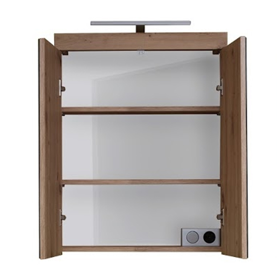 Amanda LED Mirrored Bathroom Cabinet In Knotty Oak_4