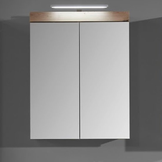 Amanda LED Mirrored Bathroom Cabinet In Knotty Oak_1