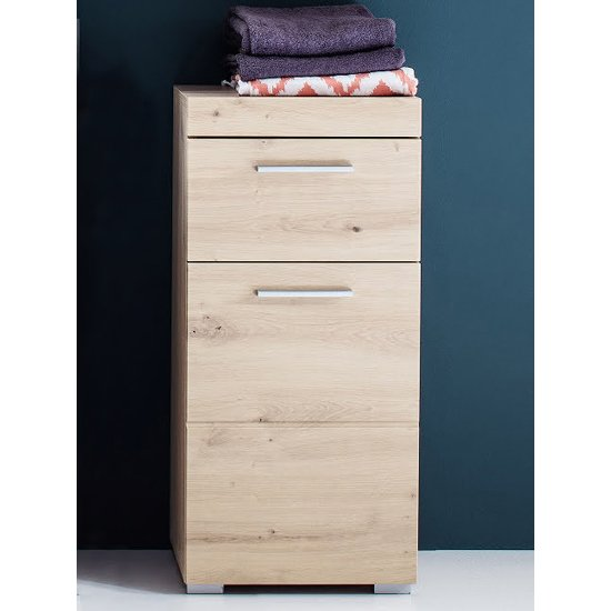 Amanda Narrow Floor Storage Cabinet In Knotty Oak_1