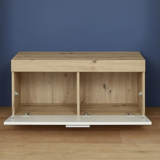 Amanda Shoe Storage Bench In White High Gloss And Knotty Oak_2