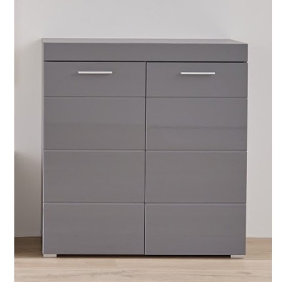 Amanda Shoe Storage Cabinet In Grey High Gloss
