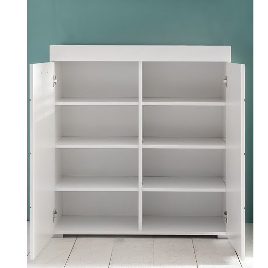 Amanda Shoe Storage Cabinet In White High Gloss_2