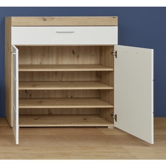 Amanda Shoe Storage Cabinet In White High Gloss And Knotty Oak_2