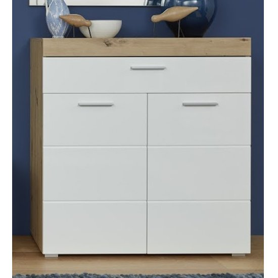 Amanda Shoe Storage Cabinet In White High Gloss And Knotty Oak