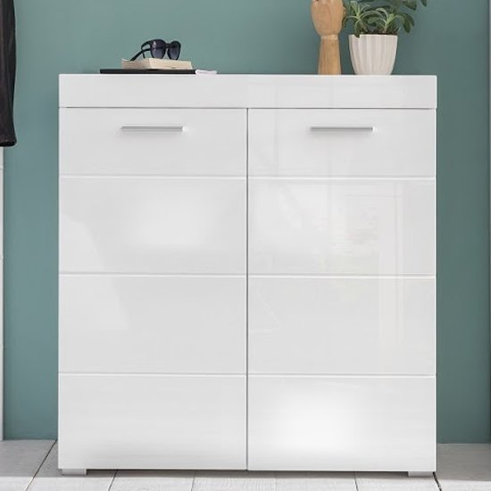 Amanda Shoe Storage Cabinet In White High Gloss