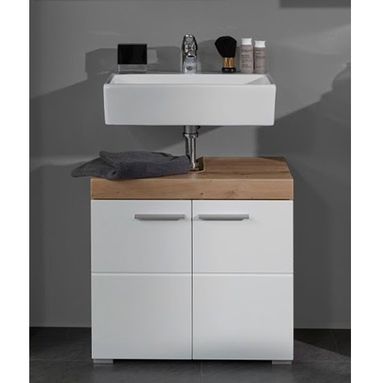 Amanda Sink Vanity Unit In White Gloss And Knotty Oak
