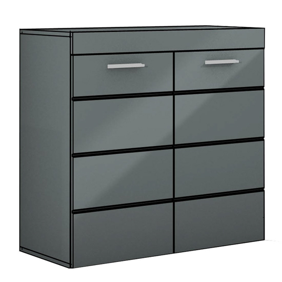 Amanda Small Sideboard In Avage Grey High Gloss
