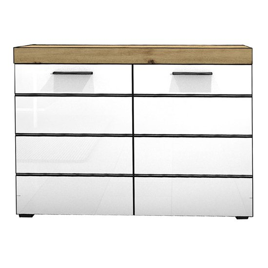 Amanda Small Sideboard In White High Gloss And Knotty Oak