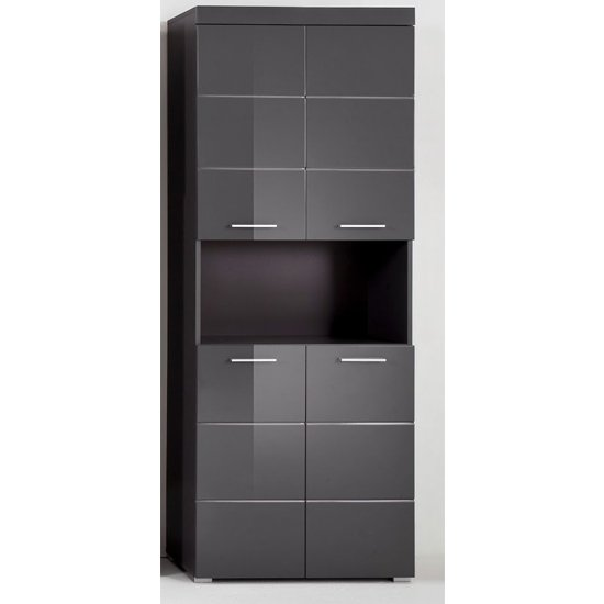 Amanda Tall Storage Cabinet In Grey Gloss With 4 Doors