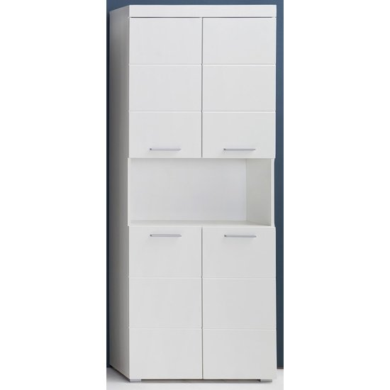 Amanda Tall Storage Cabinet In White Gloss With 4 Doors