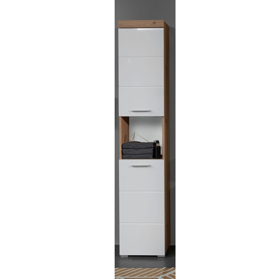 Amanda Tall Storage Cabinet In White Gloss And Knotty Oak