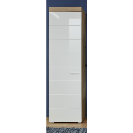 Amanda Tall Storage Cabinet In White High Gloss And Knotty Oak