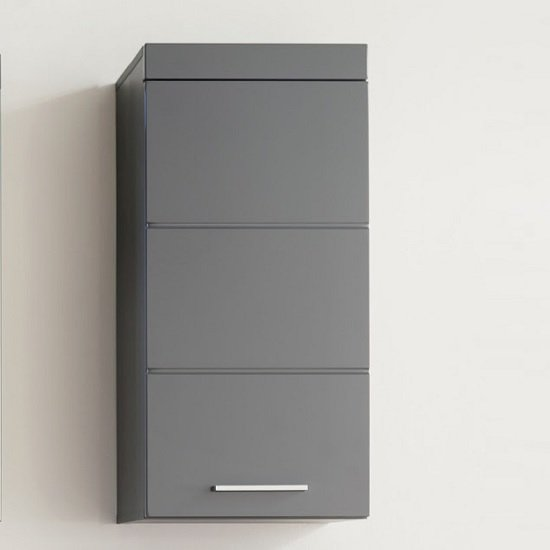 Amanda Wall Mounted Storage Cabinet In Grey And High Gloss Front
